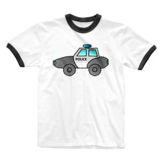 警察車両 Police Car Ringer T-shirts