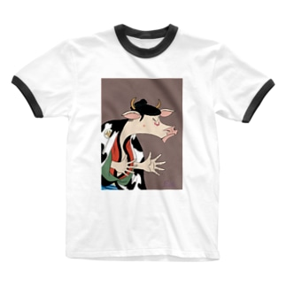 丑世絵 Ringer T-shirts