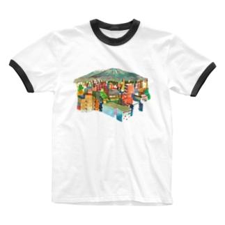 山の見えるまち Ringer T-shirts