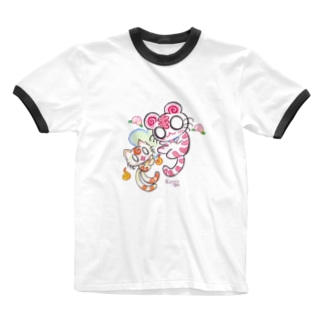 ピンク白虎ちゃん&ねこまた君 Ringer T-shirts