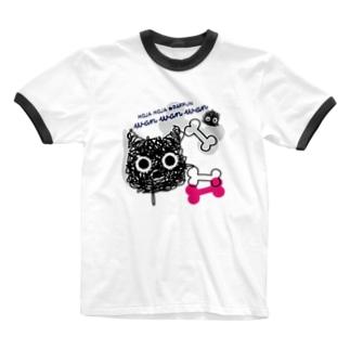 CT107 もじゃもじゃ★ぱっふん*wanwanwanA Ringer T-shirts