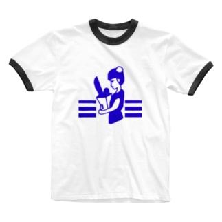 レトロなチャイナ娘(青) Ringer T-Shirt