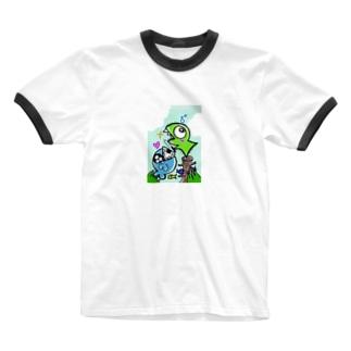 おたべザウルス~サメ釣り?~ Ringer T-shirts