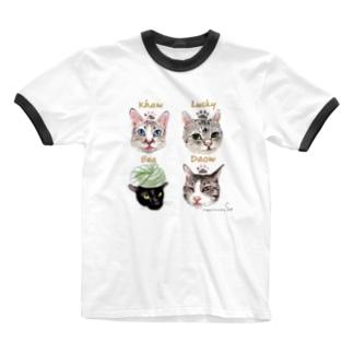 <うちの子+にくきゅう*ポートレート>KHAW & DAOW&BEA&LUCKY Ringer T-shirts
