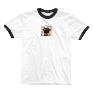 PUG-パグ-ぱぐ リアルパグ-1 ワンポイントTシャツ Ringer T-shirts