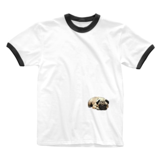 PUG-パグ-ぱぐ リアルパグ-2 ワンポイントTシャツ Ringer T-shirts