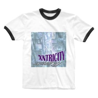 えきせんとりしてぃ-正方形 Ringer T-shirts