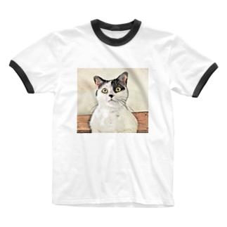 鼻ブチ猫ちゃんスケッチ風 Ringer T-shirts
