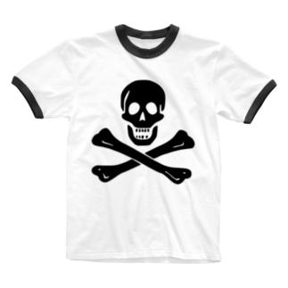 海賊旗スカル-Jolly Roger サミュエル・ベラミーの海賊旗-黒ロゴ Ringer T-shirts