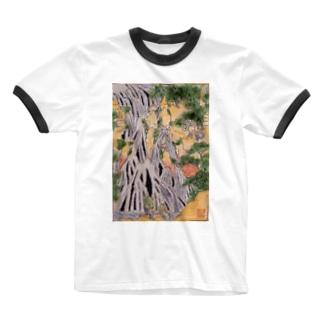小粋な刺繍『諸国瀧廻り 下野黒山きりふりの滝』 Ringer T-shirts