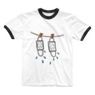 010 洗いマスク Ringer T-shirts
