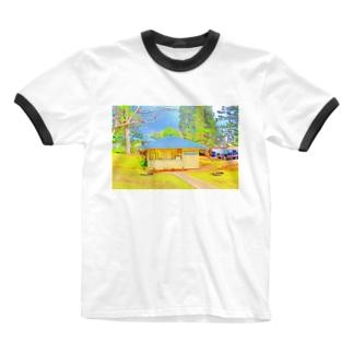 ラナイ島にある小さく可愛いBank of Hawaii(イラスト) Ringer T-shirts