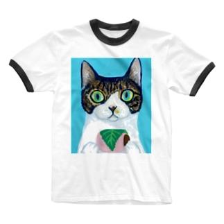 のっぴきならない/保護猫モッチー Ringer T-shirts
