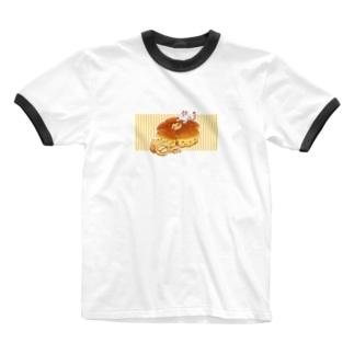 にゃんこ&食《くるみパン》しましまB Ringer T-shirts