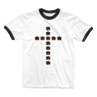 flower cross Ringer T-shirts
