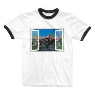 薔薇園の窓辺 Ringer T-shirts