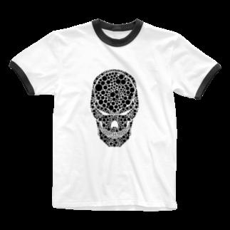 zukkyzukkyのSKULL HEART 水玉 Ringer T-shirts