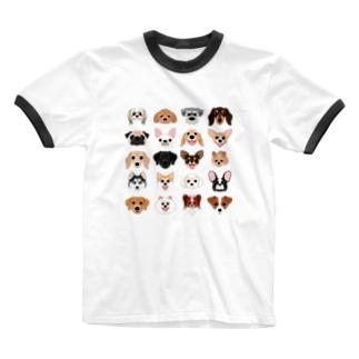 いろいろな犬種のかわいい顔 Ringer T-shirts
