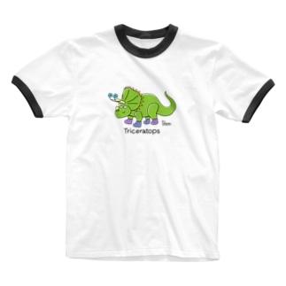 トリケラトプスさん Ringer T-shirts