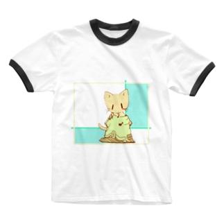 だぼっとTシャツにゃんこ Ringer T-shirts