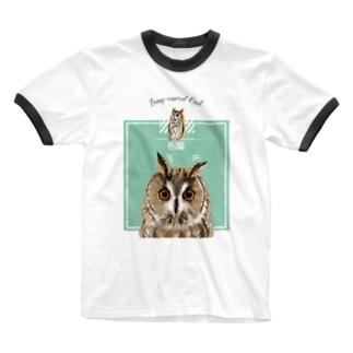 ぴーんっとトラフズク Ringer T-shirts
