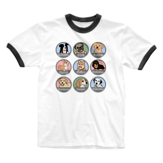 PUG-パグ-ぱぐ ワンちゃんTシャツ-1 Ringer T-shirts