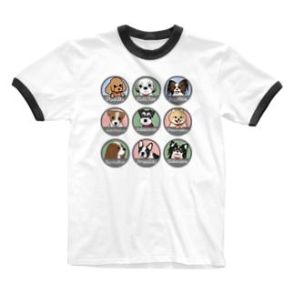PUG-パグ-ぱぐ ワンちゃんTシャツ-2 Ringer T-shirts