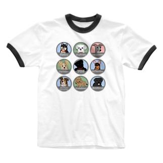 PUG-パグ-ぱぐ ワンちゃんTシャツ-3 Ringer T-shirts