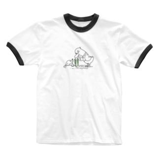 ノーマルサイズ*CT159 ネギを値切っている鴨カモ*A Ringer T-Shirt
