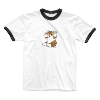 喜ぶ猫 Ringer T-shirts