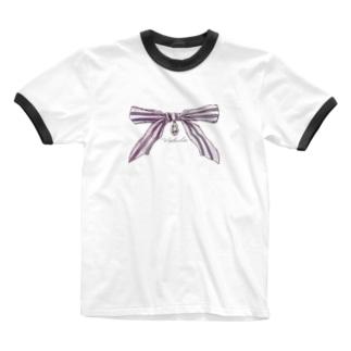 宝石と蝶結び Ringer T-shirts