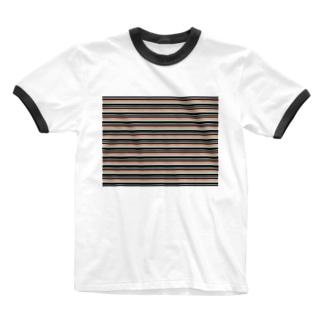 ボーダー水色ピンク Ringer T-shirts