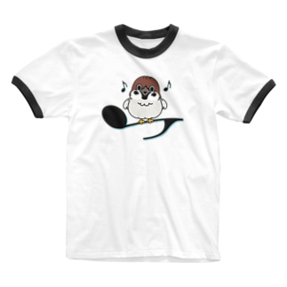 CT161 スズメがちゅんA*イラストサイズ大きいver* Ringer T-shirts