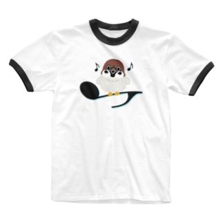 CT161 スズメがちゅんB*イラストサイズ大きいver. Ringer T-shirts