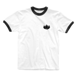 大日本帝国陸軍近衛師団帽章(ワンポイント 黒) Ringer T-shirts