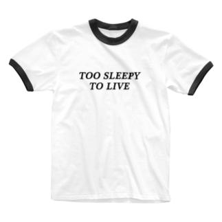 眠すぎT Ringer T-shirts