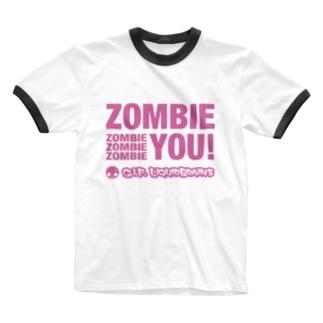 KohsukeのZombie You! (pink print) Ringer T-shirts