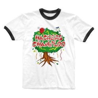 ハッカーズチャンプルー ガジュマル Ringer T-shirts