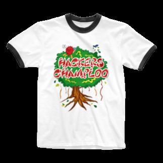 ハッカーズチャンプルーのハッカーズチャンプルー ガジュマル Ringer T-shirts