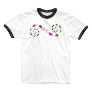 「ウサン(傘) 」 ハングルデザイン Ringer T-shirts