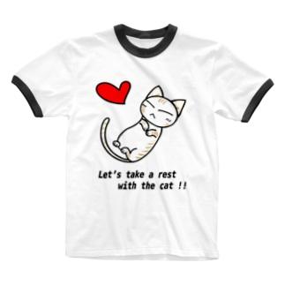 Sleeping cat!(茶) Ringer T-shirts