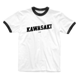 川崎 KAWASAKI - Original College Font Ringer T-shirts