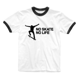 NO SKATE NO LIFE 黒ロゴ Ringer T-shirts