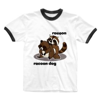 タヌキ&アライグマ Ringer T-Shirt