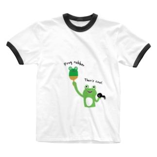 卓球 カエルラバー Ringer T-shirts