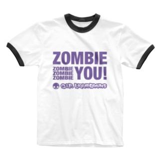 Zombie You!(purple print) Ringer T-shirts