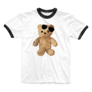 Teddy with Glasses Ringer T-shirts