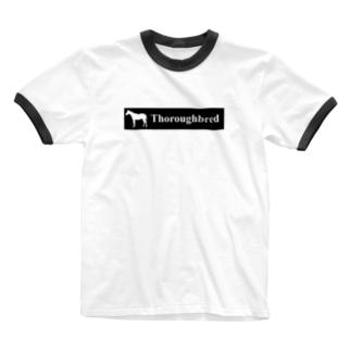文字ネタ 515 サラブレッドステッカー 黒 Ringer T-shirts