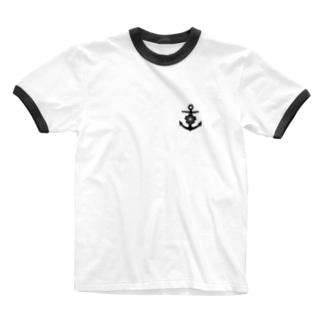 大日本帝国海軍軍記章(ワンポイント 黒) Ringer T-Shirt