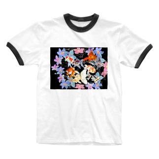 あやるの花と金魚たち Ringer T-shirts
